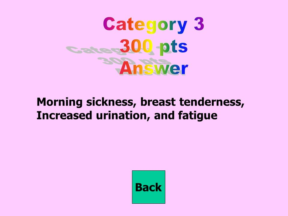 Morning sickness, breast tenderness, Increased urination, and fatigue Back