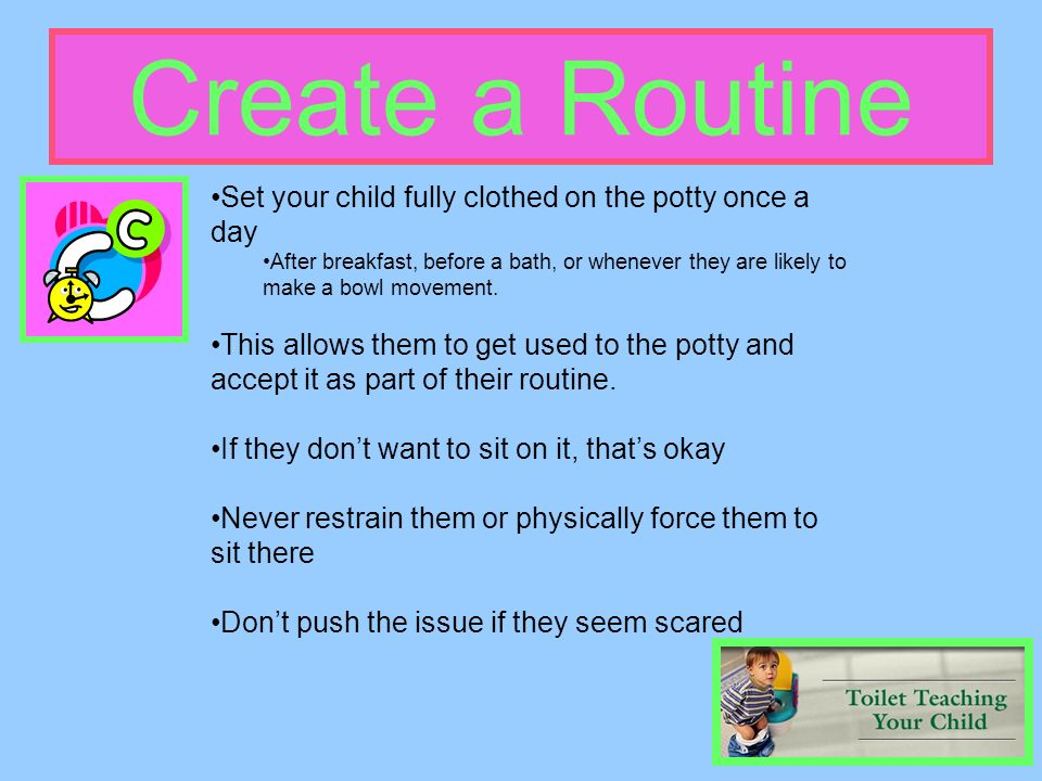 Create a Routine Set your child fully clothed on the potty once a day After breakfast, before a bath, or whenever they are likely to make a bowl movem