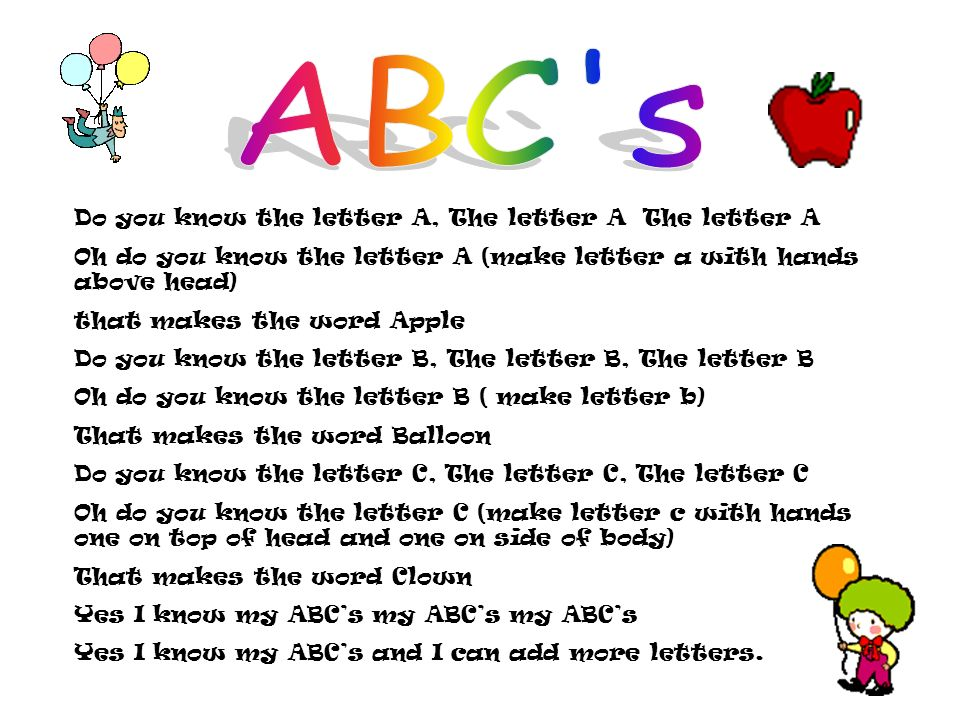 Do you know the letter A, The letter A The letter A Oh do you know the letter A (make letter a with hands above head) that makes the word Apple Do you know the letter B, The letter B, The letter B Oh do you know the letter B ( make letter b) That makes the word Balloon Do you know the letter C, The letter C, The letter C Oh do you know the letter C (make letter c with hands one on top of head and one on side of body) That makes the word Clown Yes I know my ABCs my ABCs my ABCs Yes I know my ABCs and I can add more letters.
