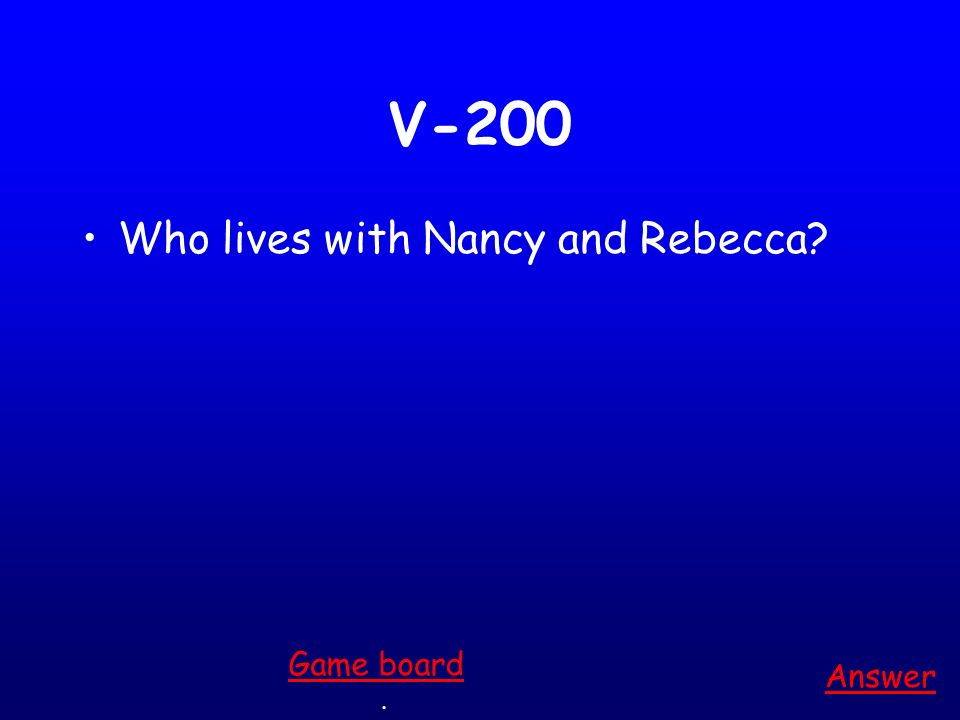V-100 Who meets Rebecca in the desert? Answer. Game board