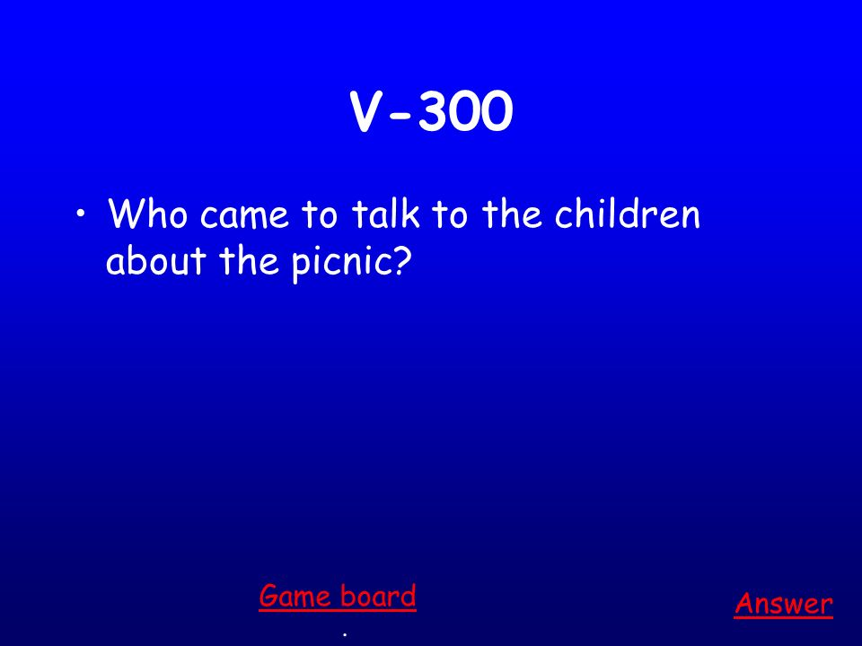V-200 Who lives with Nancy and Rebecca Answer. Game board