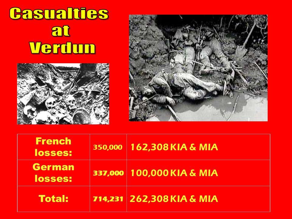 French losses: 350,000 162,308 KIA & MIA German losses: 337,000 100,000 KIA & MIA Total: 714,231 262,308 KIA & MIA