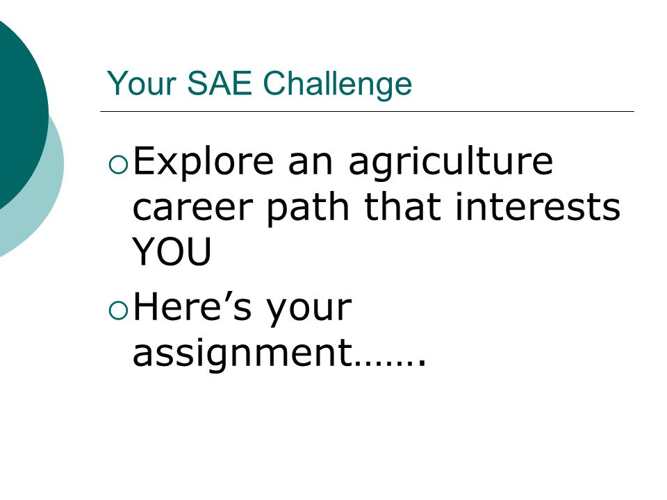 Your SAE Challenge Explore an agriculture career path that interests YOU Heres your assignment…….