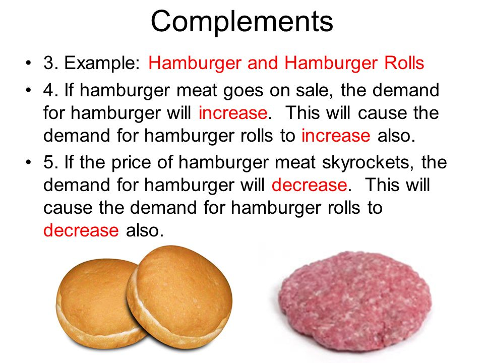 Complements 3. Example: Hamburger and Hamburger Rolls 4. If hamburger meat goes on sale, the demand for hamburger will increase. This will cause the d