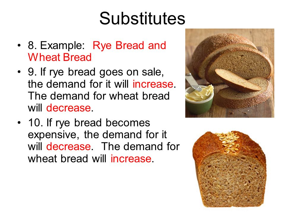 Substitutes 8. Example: Rye Bread and Wheat Bread 9. If rye bread goes on sale, the demand for it will increase. The demand for wheat bread will decre