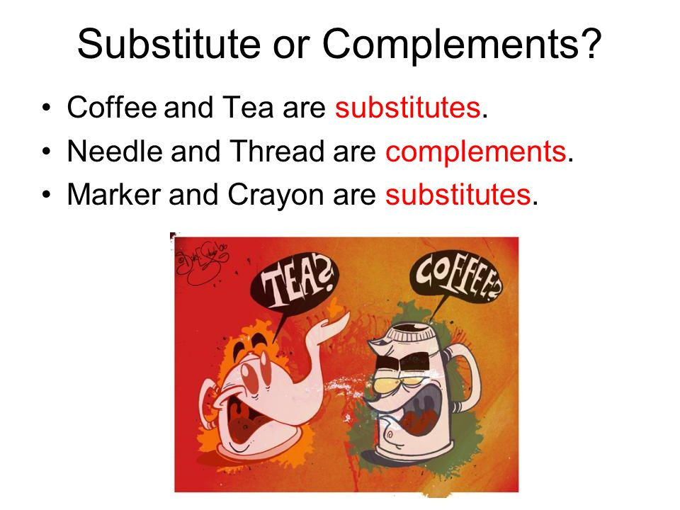 Substitute or Complements? Coffee and Tea are substitutes. Needle and Thread are complements. Marker and Crayon are substitutes.