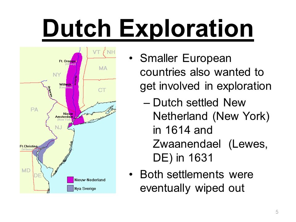 Dutch Exploration Smaller European countries also wanted to get involved in exploration –Dutch settled New Netherland (New York) in 1614 and Zwaanenda