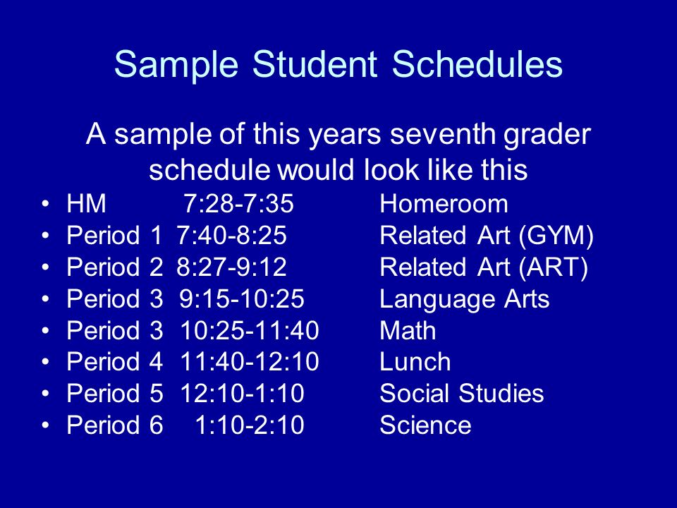Sample Student Schedules A sample of this years seventh grader schedule would look like this HM 7:28-7:35Homeroom Period 17:40-8:25 Related Art (GYM)