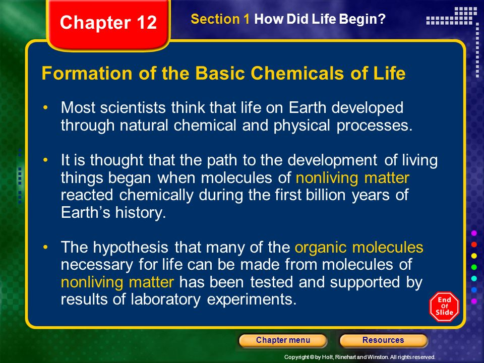 Copyright © by Holt, Rinehart and Winston. All rights reserved. ResourcesChapter menu Formation of the Basic Chemicals of Life Most scientists think t