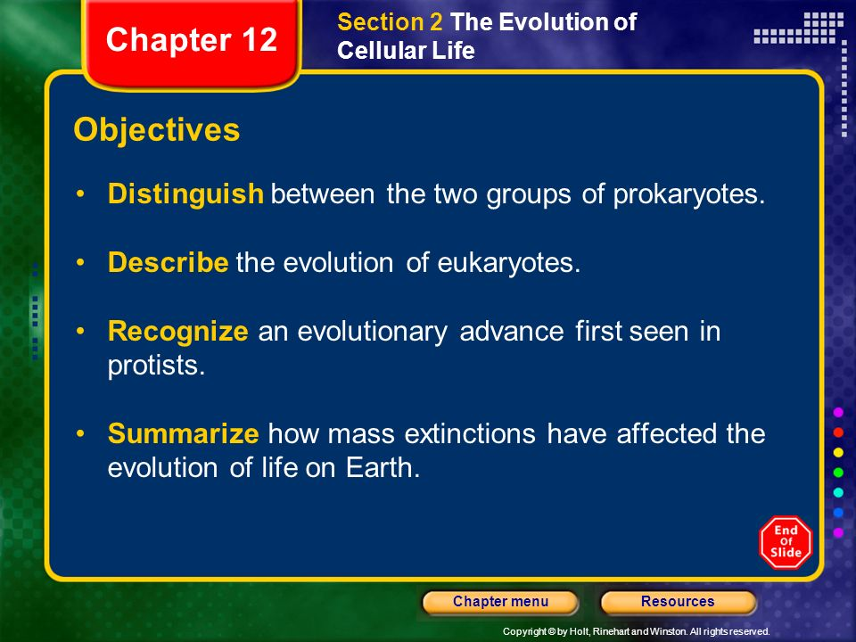 Copyright © by Holt, Rinehart and Winston. All rights reserved. ResourcesChapter menu Section 2 The Evolution of Cellular Life Objectives Distinguish