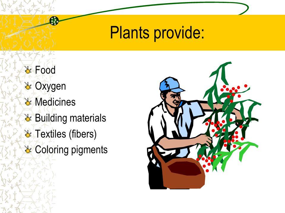 Plants provide: Food Oxygen Medicines Building materials Textiles (fibers) Coloring pigments
