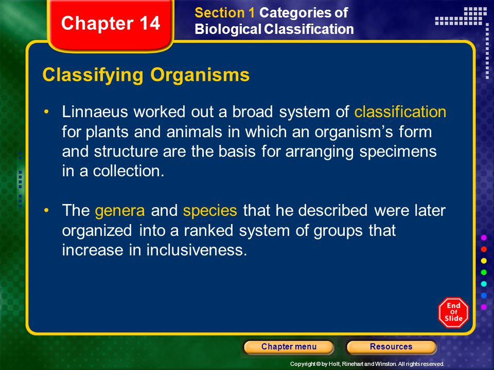 Copyright © by Holt, Rinehart and Winston. All rights reserved. ResourcesChapter menu Classifying Organisms Linnaeus worked out a broad system of clas