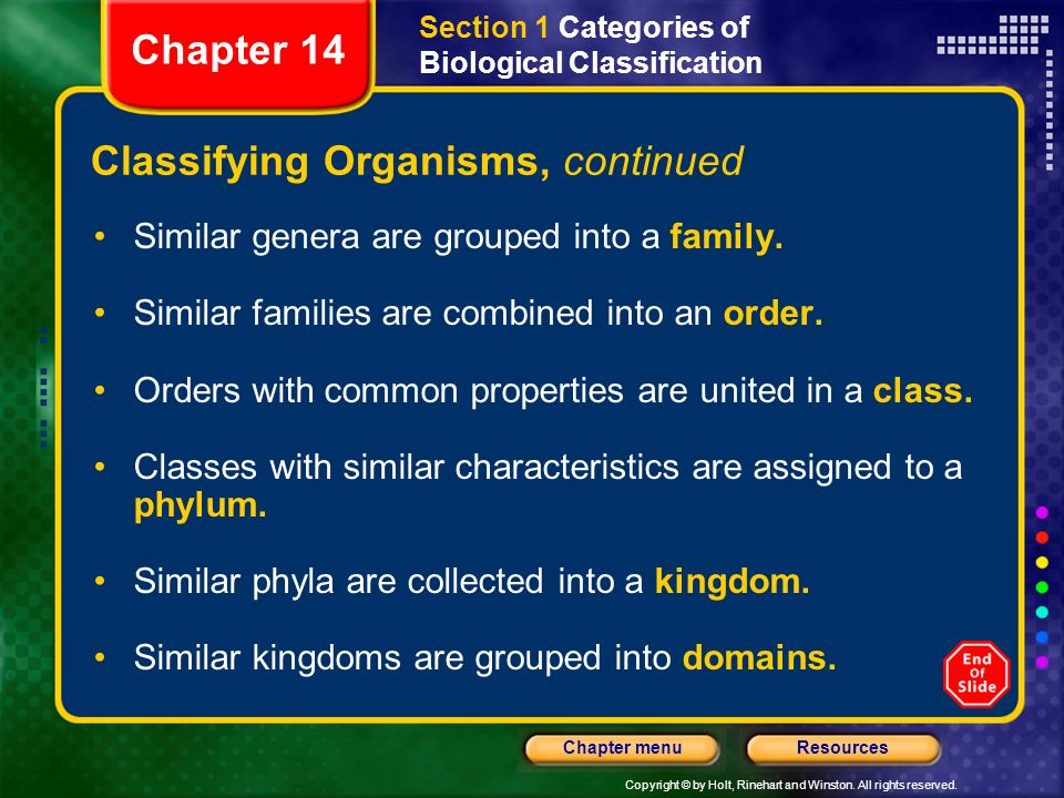 Copyright © by Holt, Rinehart and Winston. All rights reserved. ResourcesChapter menu Classifying Organisms, continued Similar genera are grouped into