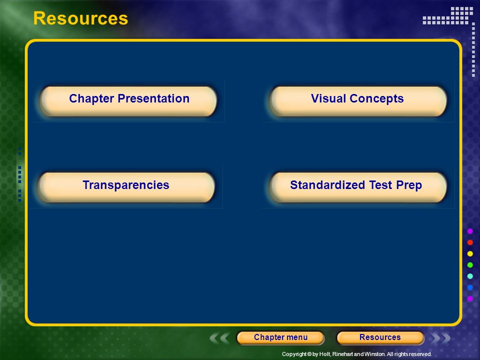 Copyright © by Holt, Rinehart and Winston. All rights reserved. ResourcesChapter menu Chapter Presentation TransparenciesStandardized Test Prep Visual