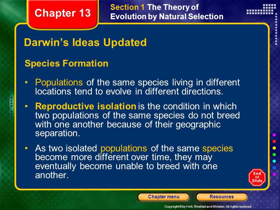 Copyright © by Holt, Rinehart and Winston. All rights reserved. ResourcesChapter menu Darwins Ideas Updated Species Formation Populations of the same