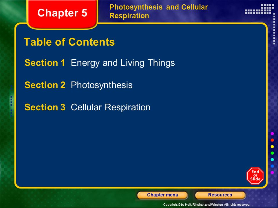 Copyright © by Holt, Rinehart and Winston. All rights reserved. ResourcesChapter menu Photosynthesis and Cellular Respiration Chapter 5 Table of Conte