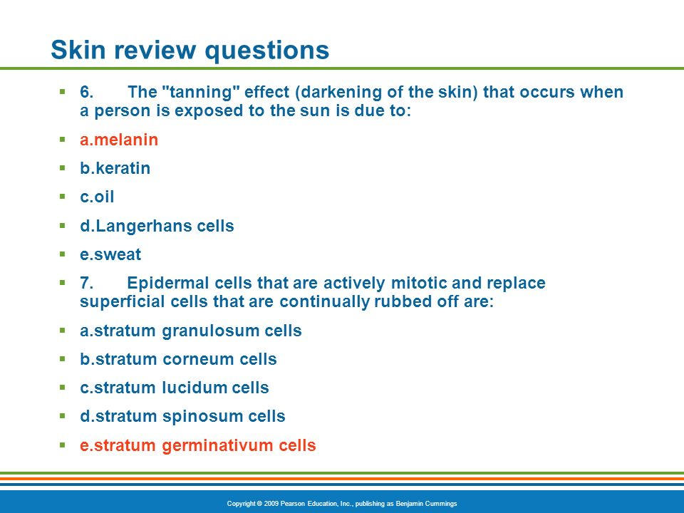 Copyright © 2009 Pearson Education, Inc., publishing as Benjamin Cummings Skin review questions 6.The tanning effect (darkening of the skin) that occurs when a person is exposed to the sun is due to: a.melanin b.keratin c.oil d.Langerhans cells e.sweat 7.Epidermal cells that are actively mitotic and replace superficial cells that are continually rubbed off are: a.stratum granulosum cells b.stratum corneum cells c.stratum lucidum cells d.stratum spinosum cells e.stratum germinativum cells