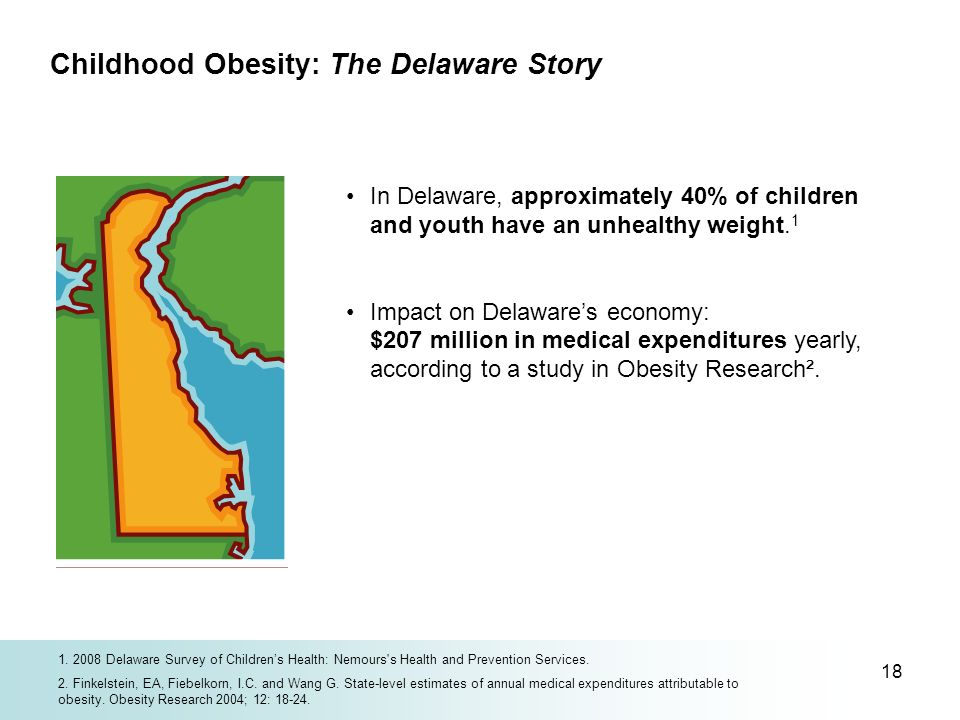 18 In Delaware, approximately 40% of children and youth have an unhealthy weight. 1 Impact on Delawares economy: $207 million in medical expenditures