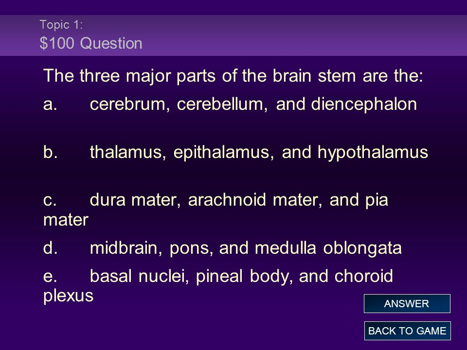 Topic 1: $100 Answer The three major parts of the brain stem are the: a.cerebrum, cerebellum, and diencephalon b.thalamus, epithalamus, and hypothalamus c.dura mater, arachnoid mater, and pia mater d.midbrain, pons, and medulla oblongata e.basal nuclei, pineal body, and choroid plexus BACK TO GAME