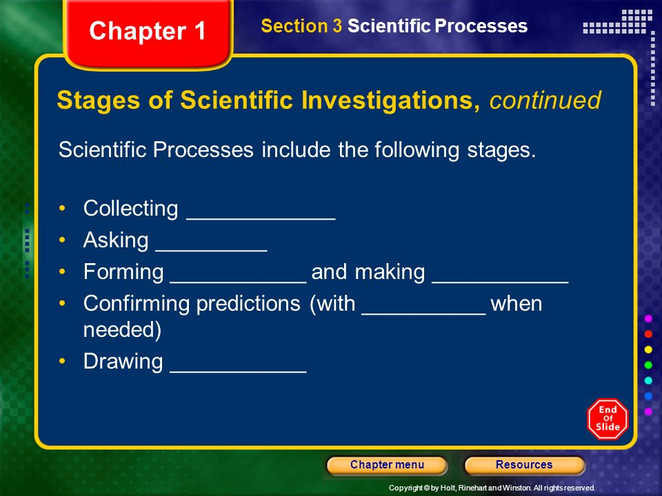 Copyright © by Holt, Rinehart and Winston. All rights reserved. ResourcesChapter menu Stages of Scientific Investigations Scientific investigations te