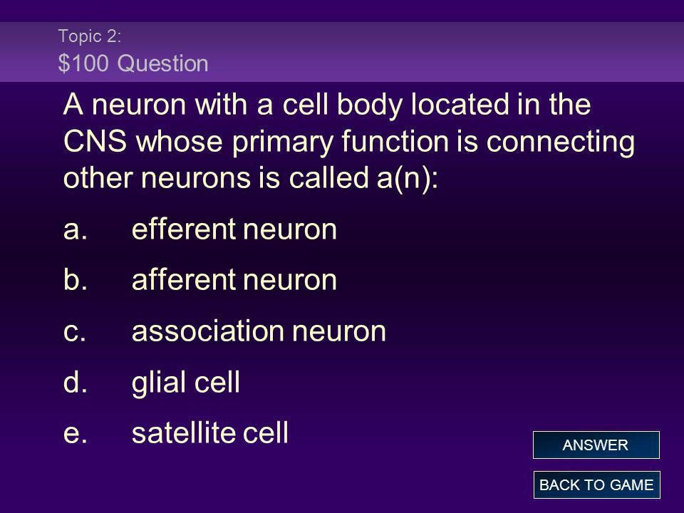 Topic 2: $100 Question A neuron with a cell body located in the CNS whose primary function is connecting other neurons is called a(n): a.efferent neur