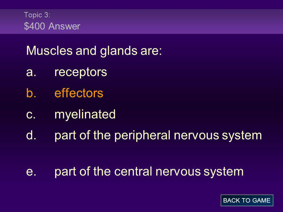 Topic 3: $400 Answer Muscles and glands are: a.receptors b.effectors c.myelinated d.part of the peripheral nervous system e.part of the central nervou