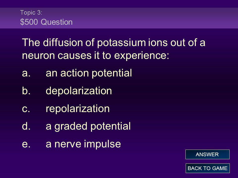 Topic 3: $500 Question The diffusion of potassium ions out of a neuron causes it to experience: a.an action potential b.depolarization c.repolarizatio