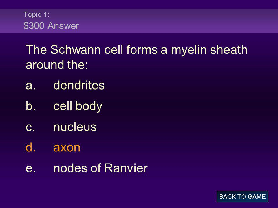 Topic 1: $300 Answer The Schwann cell forms a myelin sheath around the: a.dendrites b.cell body c.nucleus d.axon e.nodes of Ranvier BACK TO GAME