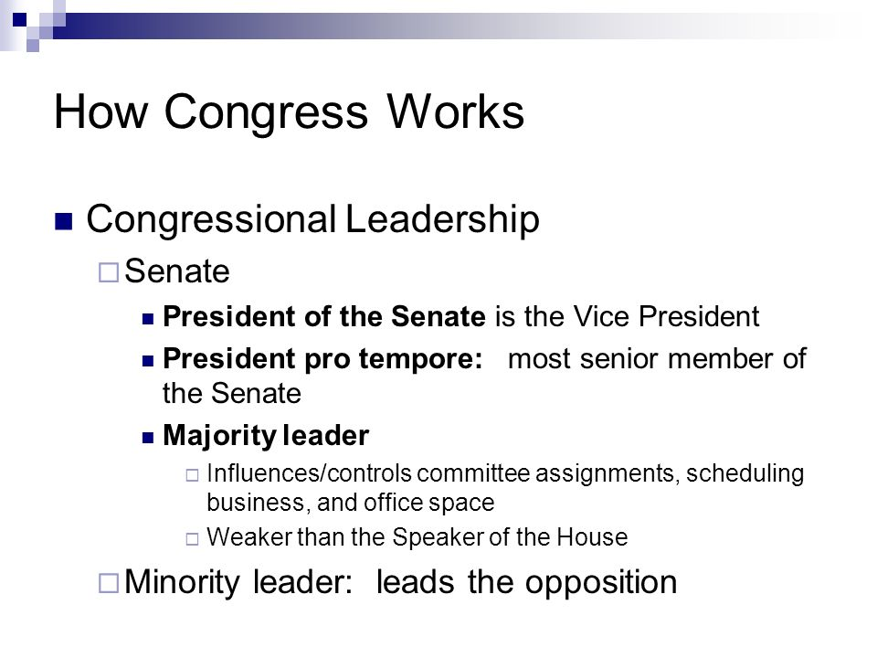 How Congress Works Congressional Leadership Senate President of the Senate is the Vice President President pro tempore: most senior member of the Sena