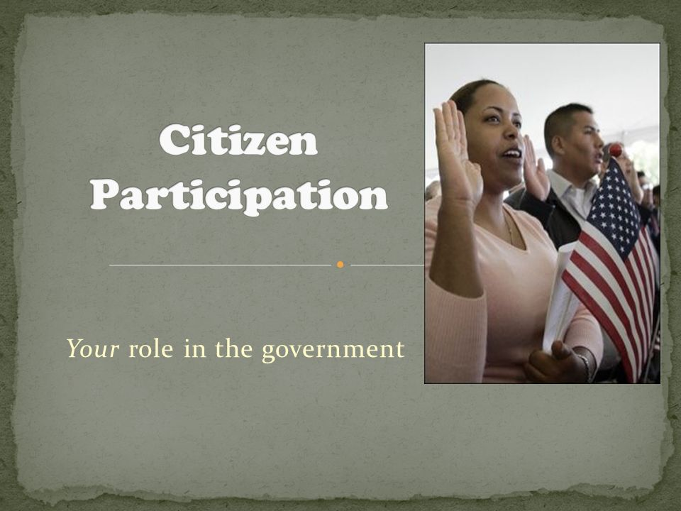 Your role in the government