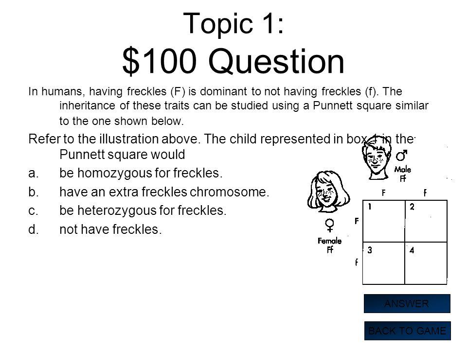 Topic 1: $100 Question In humans, having freckles (F) is dominant to not having freckles (f). The inheritance of these traits can be studied using a P