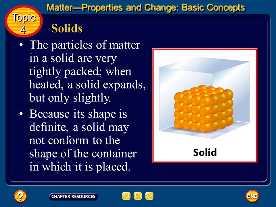 Solids A solid is a form of matter that has its own definite shape and volume. Wood, iron, paper, and sugar are examples of solids. MatterProperties a