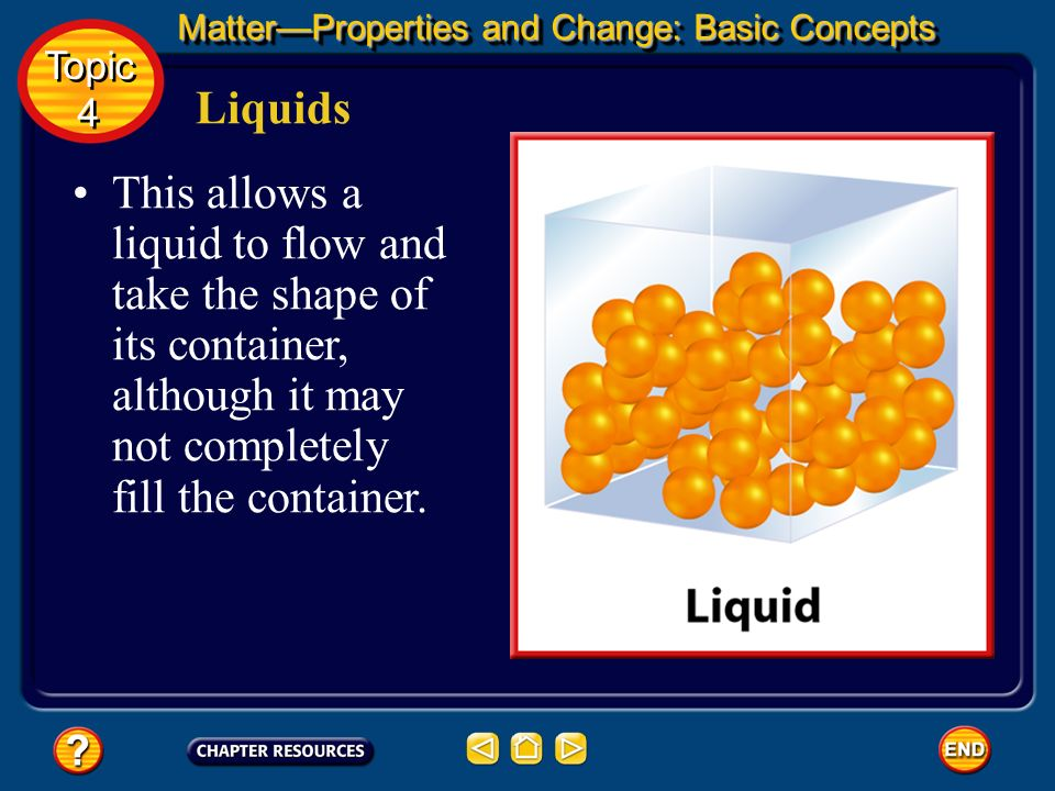 Liquids A liquid is a form of matter that flows, has constant volume, and takes the shape of its container. Common examples of liquids include water,