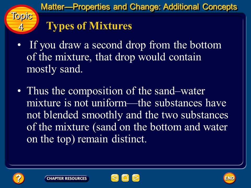 Types of Mixtures Suppose you draw a drop from the top of the mixture using an eyedropper. The drop would be almost completely water. MatterProperties