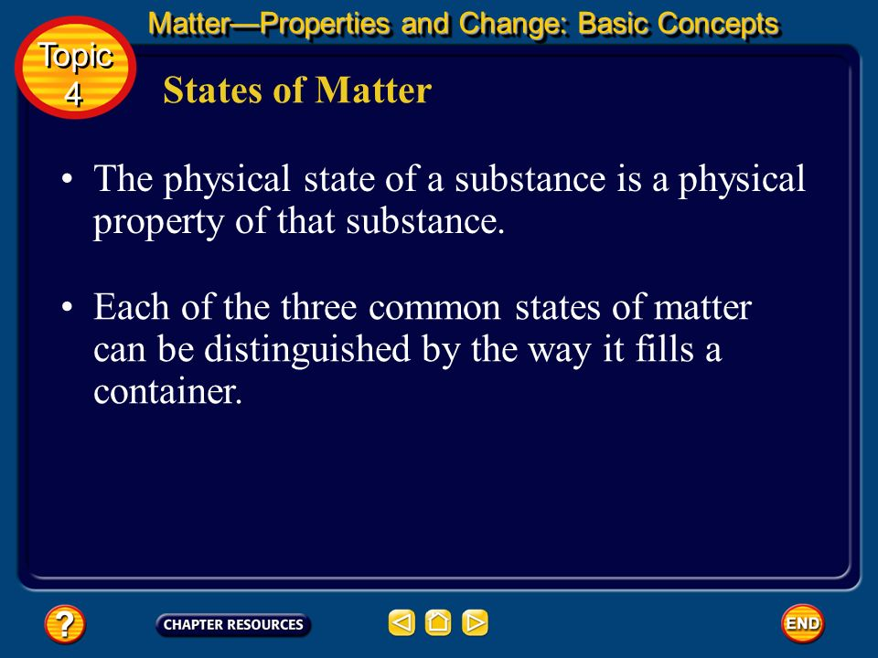 In fact, all matter that exists on Earth can be classified as one of these physical forms called states of matter. States of Matter Scientists recogni