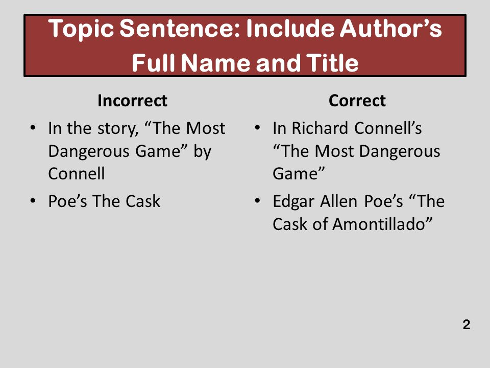 Topic Sentence: Include Authors Full Name and Title Incorrect In the story, The Most Dangerous Game by Connell Poes The Cask Correct In Richard Connel