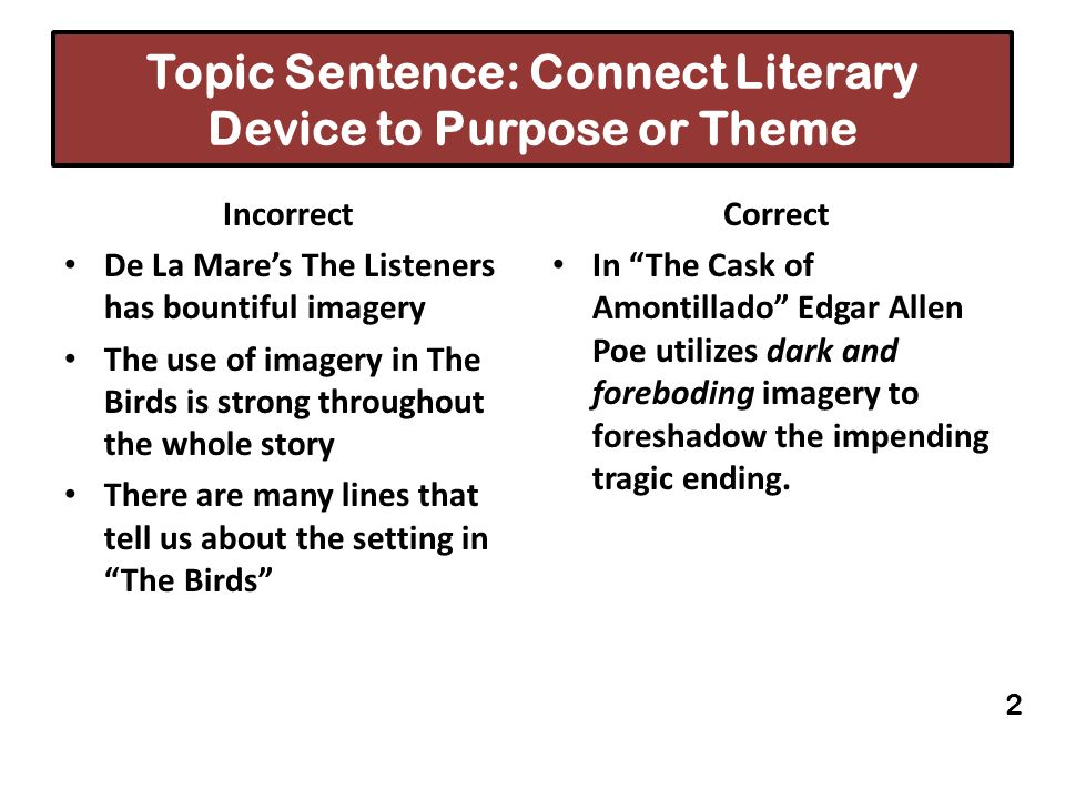 Topic Sentence: Connect Literary Device to Purpose or Theme Incorrect De La Mares The Listeners has bountiful imagery The use of imagery in The Birds