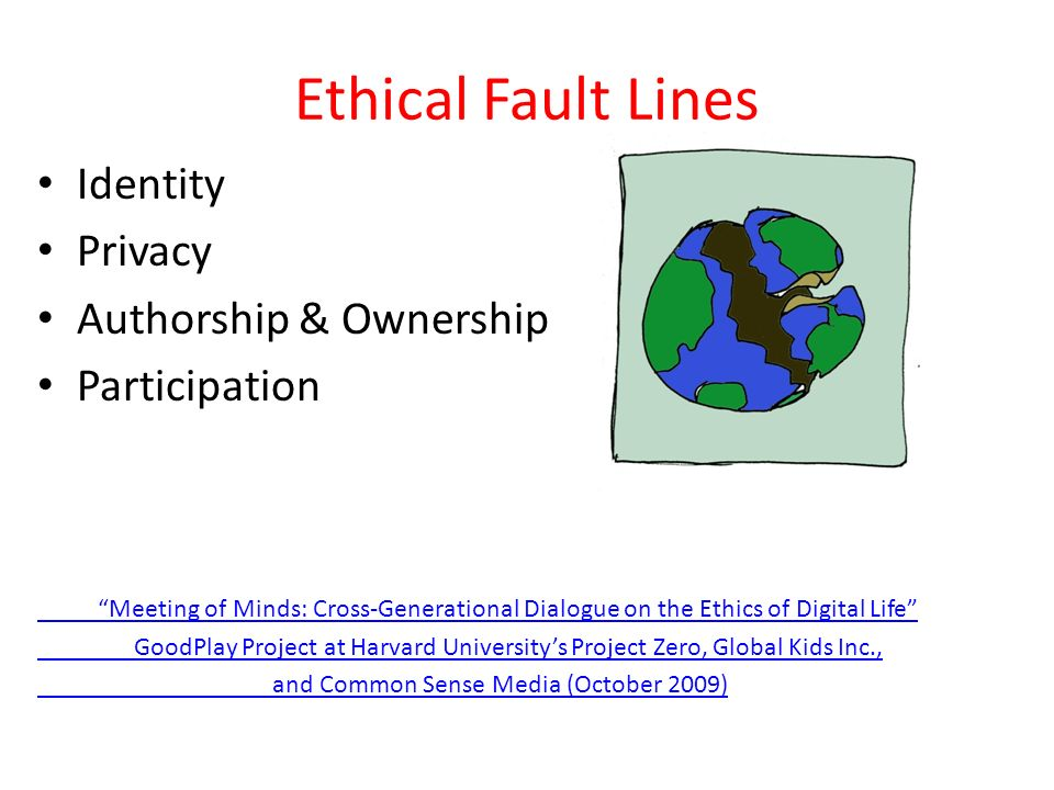 Ethical Fault Lines Identity Privacy Authorship & Ownership Participation Meeting of Minds: Cross-Generational Dialogue on the Ethics of Digital Life GoodPlay Project at Harvard Universitys Project Zero, Global Kids Inc., and Common Sense Media (October 2009)