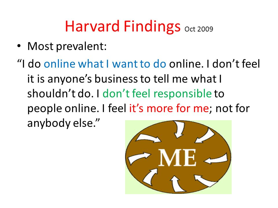 Harvard Findings Oct 2009 Most prevalent: I do online what I want to do online.