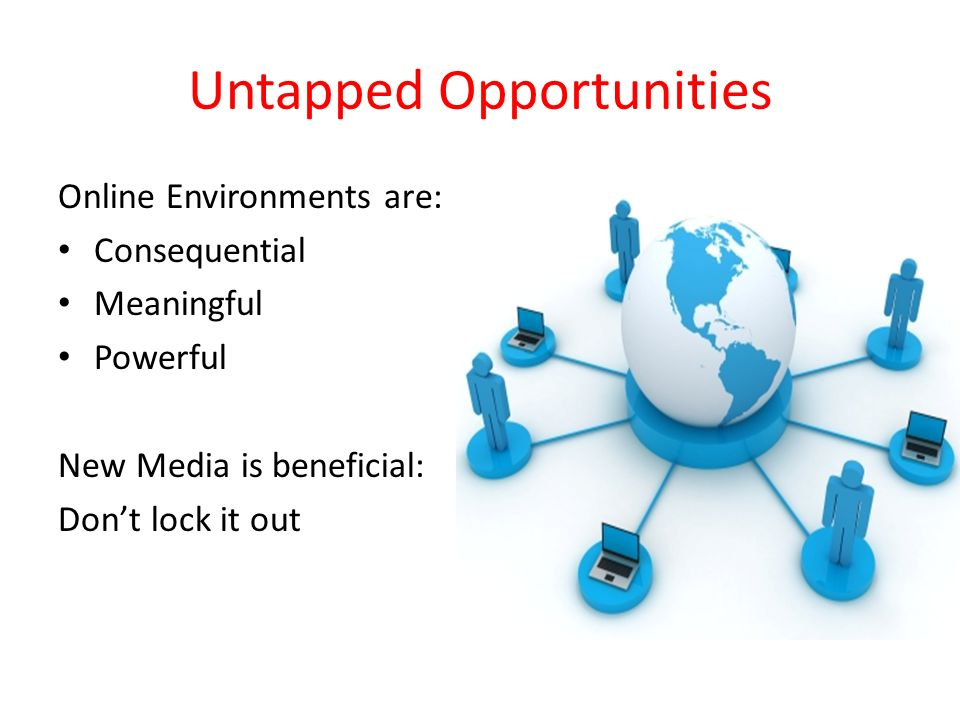 Untapped Opportunities Online Environments are: Consequential Meaningful Powerful New Media is beneficial: Dont lock it out
