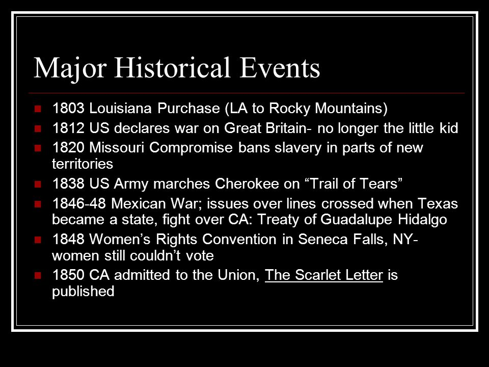 Major Historical Events 1803 Louisiana Purchase (LA to Rocky Mountains) 1812 US declares war on Great Britain- no longer the little kid 1820 Missouri Compromise bans slavery in parts of new territories 1838 US Army marches Cherokee on Trail of Tears 1846-48 Mexican War; issues over lines crossed when Texas became a state, fight over CA: Treaty of Guadalupe Hidalgo 1848 Womens Rights Convention in Seneca Falls, NY- women still couldnt vote 1850 CA admitted to the Union, The Scarlet Letter is published