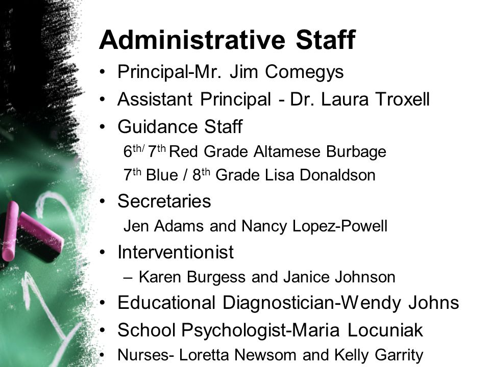 Administrative Staff Principal-Mr. Jim Comegys Assistant Principal - Dr. Laura Troxell Guidance Staff 6 th/ 7 th Red Grade Altamese Burbage 7 th Blue