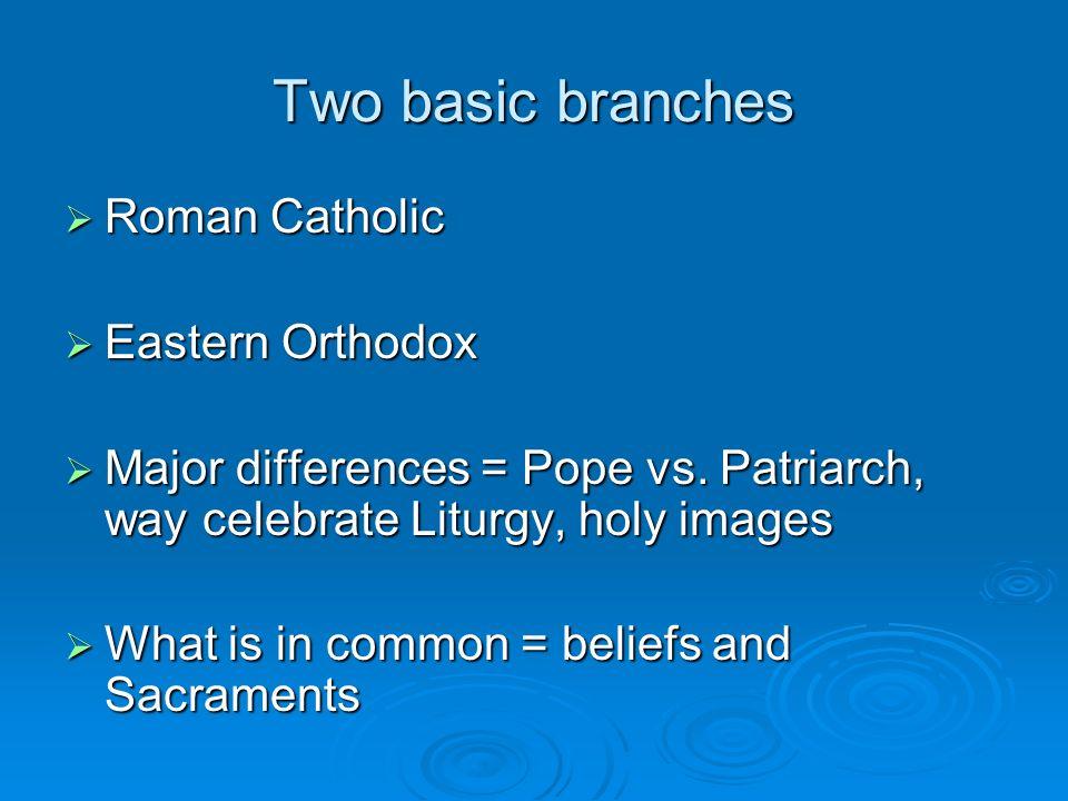 Two basic branches Roman Catholic Roman Catholic Eastern Orthodox Eastern Orthodox Major differences = Pope vs. Patriarch, way celebrate Liturgy, holy