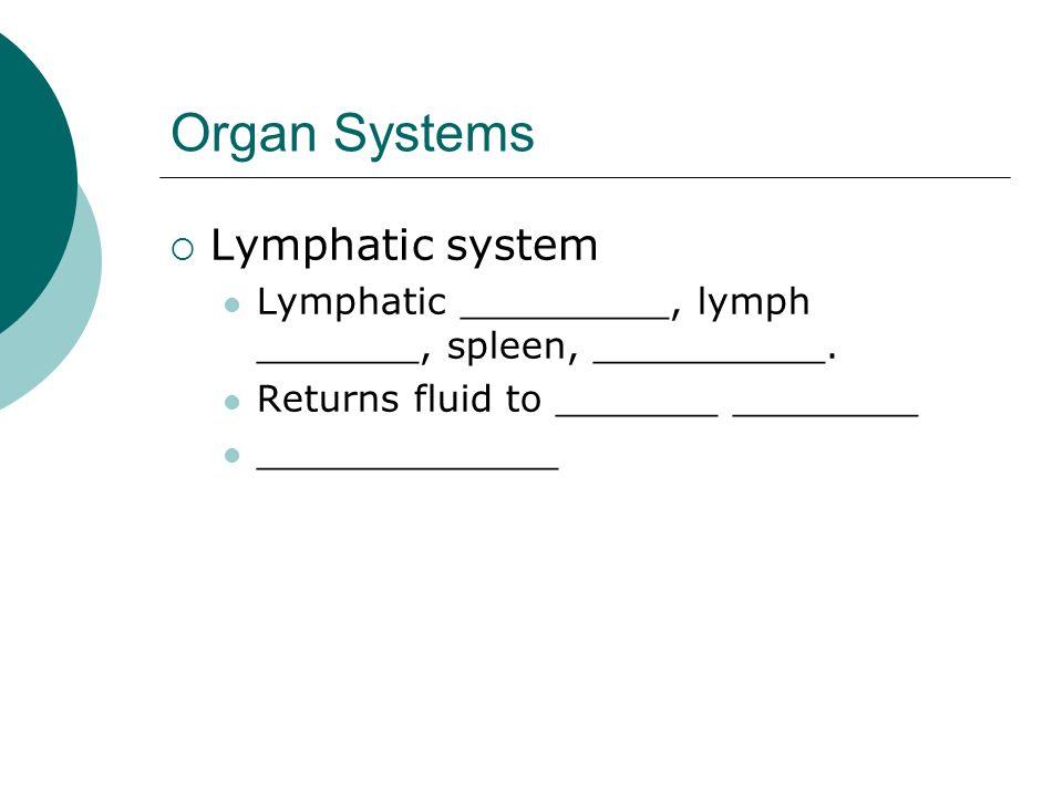Organ Systems Lymphatic system Lymphatic _________, lymph _______, spleen, __________. Returns fluid to _______ ________ _____________