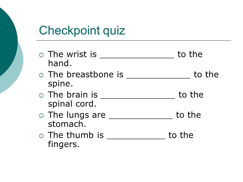 Checkpoint quiz The wrist is ______________ to the hand. The breastbone is ____________ to the spine. The brain is ______________ to the spinal cord.