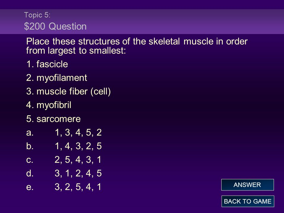 Topic 5: $200 Question Place these structures of the skeletal muscle in order from largest to smallest: 1. fascicle 2. myofilament 3. muscle fiber (ce