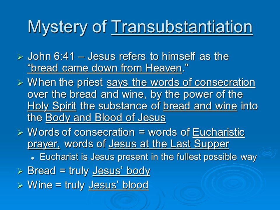 Mystery of Transubstantiation John 6:41 – Jesus refers to himself as the bread came down from Heaven. John 6:41 – Jesus refers to himself as the bread