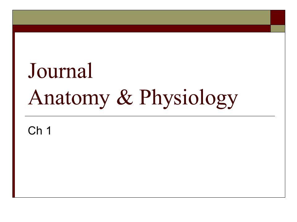 Journal Anatomy & Physiology Ch 1
