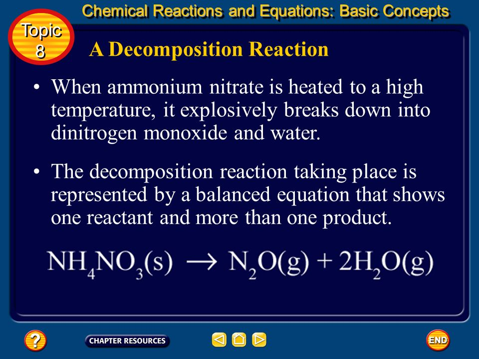 Major Classes of Reactions The products may be an element and a compound, such as when hydrogen peroxide decomposes into water and oxygen. The compoun