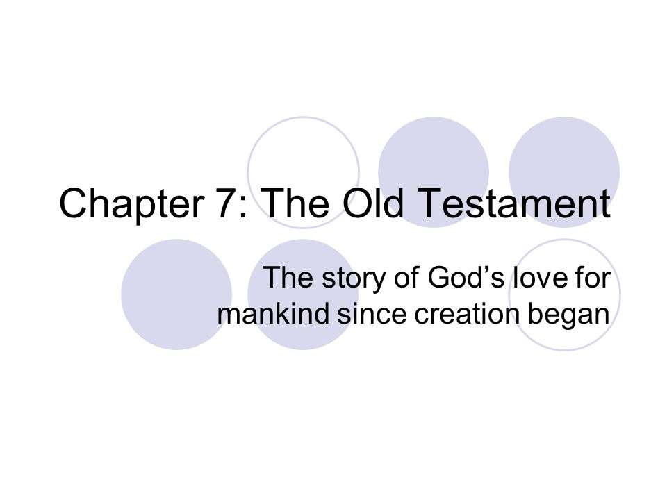 Chapter 7: The Old Testament The story of Gods love for mankind since creation began